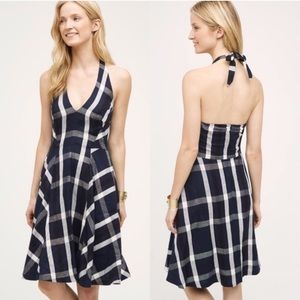 Anthropologie | Fit and Flare Plaid Halter Dress